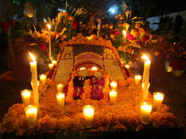 Decorated grave for Day of the Dead